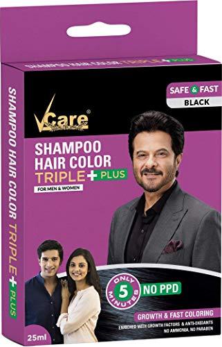 VCare Shampoo Hair Colour 25 ml-Black (3 pcs) - No PPD