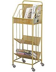 Stellingkasten Opslag Rek Opbergmand Gouden Opbergplank met Wiel, Thuiskantoor 3-laags Metalen Vloerstaande Bijzettafel voor Krantenmagazine (Color : Gold)