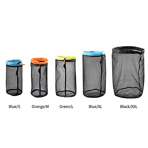 WDFS Mesh Storage Bag Sack Drawstring Traveling Organizer Clothes Foldable Home Stuff Ultralight Outdoor Sports Tool King Camping Toys(Orange M)