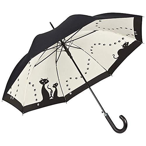 VON LILIENFELD Regenschirm Automatik Damen Double-Layer Motiv Schwarze Katzen, 90/100, Schwarz