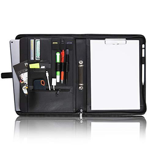 "Vebon® Schreibmappe Ringbuch A4\""Paris\"" | Reißverschluss + Klemmbrett | Dokumentenmappe + Laptoptasche | extra Stauraum | Schwarz Kunstleder"