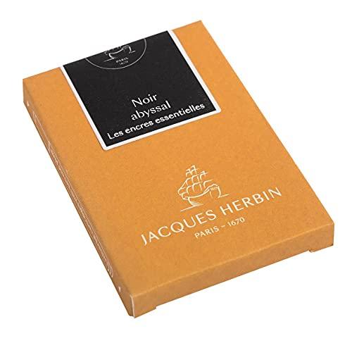 Jacques Herbin 11009JT - Caja de 7 cartuchos grandes, tamaño internacional, para pluma y bolígrafo roller, color negro abyssal