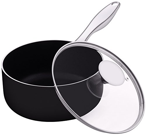 Cazo con tapa de vidrio - cacerola acero inoxidable mango -18 x...