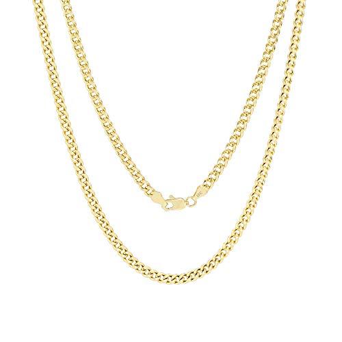Unisex 10K Yellow Gold 4mm Miami Cuban Link Chain Pendant Necklace, 16