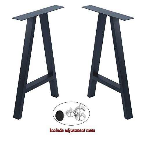 Womio 2Pcs Metal Furniture Legs Rustic Decory A Shape Table Legs,Desk Legs,Heavy Duty Dining Table Legs,Industrial & Modern,Black(H28 x L17.5 inchs)