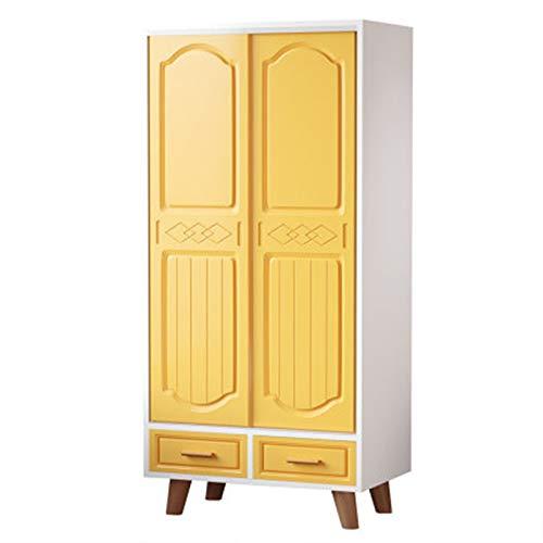 CHENSHJI Armario Infantil Dormitorio Hogar Simple Simple Smile Wardrobe Landing Baby Storage Gabinete de Almacenamiento Armario de Puerta (Color : Yellow, Size : 160x50x80cm)