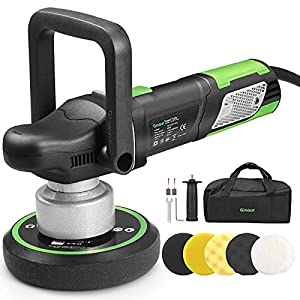 Ginour Polisher, 900W 6-inch Variable Speed Dual-Action Random Orbit Car Buffer Polisher with D-Handle & Side Handle, 6400RPM, Packing Bag, 5 Foam Disc for Car Polishing and Waxing