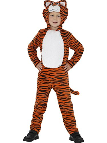 Smiffys-46754T Disfraz de Tigre, Naranja y con Mono con Capucha y Cola, Color Negro, T-Edad 12 años + (Smiffy