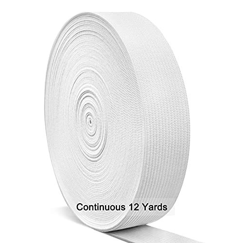 White Elastic Bands for Sewing 1 Inch, Hengiee Braided Elastic for Wigs, Waistband, Skirt, Pants, Headband, Bed Sheets, Kids Clothes, Craft DIY Projects 12 Yard