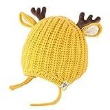 INLLADDY Kinder Jungen und Mädchen Geweih Strickmütze Beanie Hut süße Mütze Hut Gelb 50-54cm