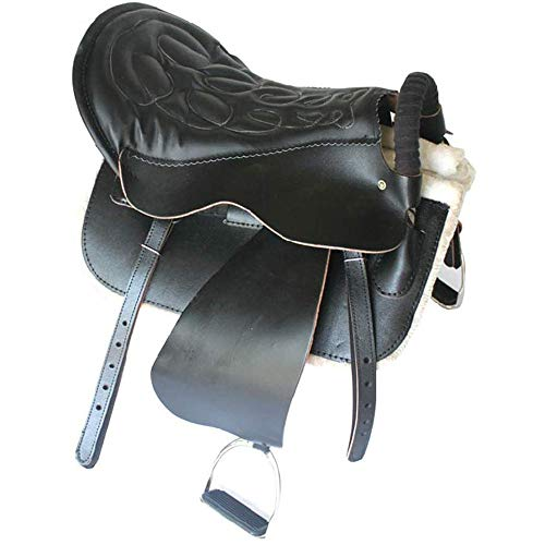 KDKDA Cuero Negro Inglés premium de uso múltiple de la silla de montar el caballo de salto TACHUELA Paquete de Iniciación Conjunto Suministros turistas silla de montar a caballo Arneses Equipo esquele