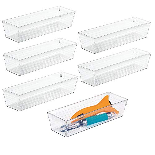 mDesign Plastic Kitchen Cabinet Drawer Organizer Tray - Storage Bin for Cutlery, Serving Spoons, Cooking Utensils, Gadgets - BPA Free, Food Safe, 9