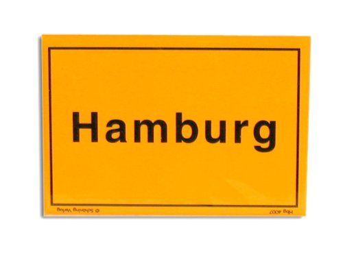 City Souvenir Shop Magnet Ortsschild Hamburg