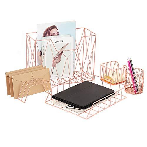 5 in 1 Schreibtisch Organizer Set, Enthält Organizer-Korb, Bleistiftbecherhalter, Zeitungsständer, Postsortierer, Haftnotizenhalter für zu Hause oder Büro – Roségold