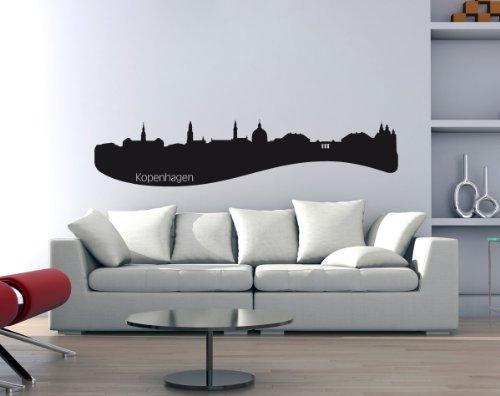 PrimeStick Wandtattoo Wandaufkleber Kopenhagen Skyline mit Sehenswürdigkeiten #160B schwarz 250cm x 54cm (RAL9005)