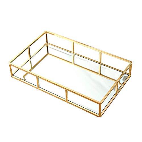 Bandeja organizadora dorada, bandeja decorativa de cristal, bandeja de espejo, bandeja decorativa,...