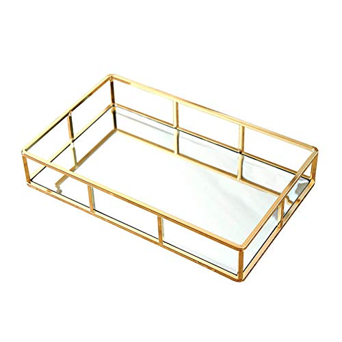 Tablett mit Spiegel, Metall-Ablage, goldfarbenes Spiegeltablett, Parfüm-Tablett, Spiegel,...