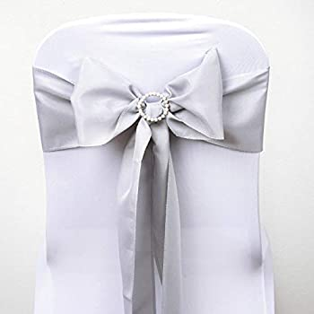 BalsaCircle 10 Silver Polyester Chair Sashes Bows Ties - Wedding Party Ceremony Reception Decorations Cheap Supplies Wholesale