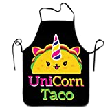 MINIOZE Cute Unicorn Food Taco Apron Theme Cooking Chef Work Shop Women Men Adult Girl Kid Weavers Baking Decorations Painting BBQ Grilling Kitchen Accessories Party Supplies