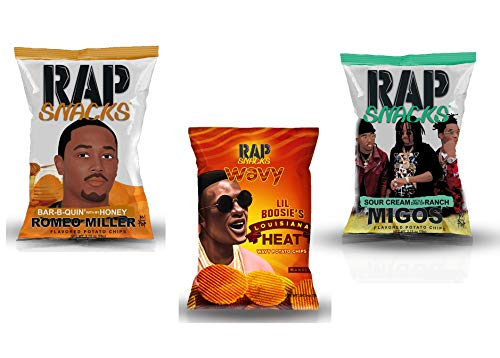 Rap Snacks Variety Pack (Migos Sour Cream with a Dab of Ranch Potato Chips, Lil Boosie Louisiana Heat Potato Chips, Romeo Miller Bar-B-Quin' with my Honey Potato Chips) 2.75 oz Potato Chip Bags