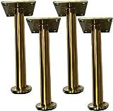MWPO Möbelbeine, Schränke Badschränke Sofa Stützbeine Zubehör, 4 Stück, tragend 800kg, zylindrischer Edelstahl verstellbar 2cm, Gold, glänzend Silber