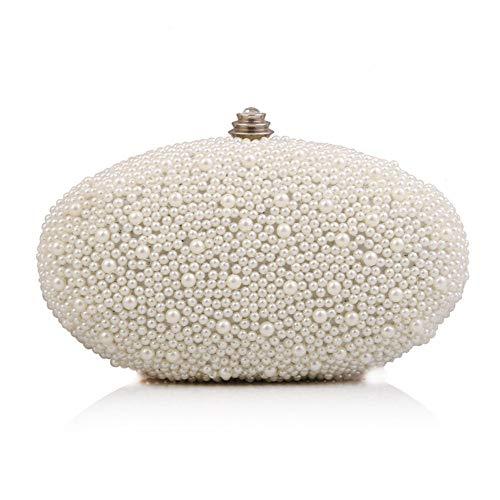 LLUFFY-Clutchmonederos Vestido de cenapersonalizado con forma de huevo de gansocon bolsa de perlas para el banquete, 18 * 6 * 10 cm, blanco