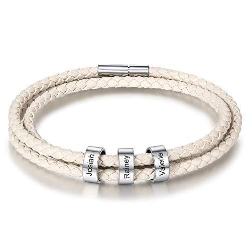 XiXi Personalisierte Lederarmband Edelstahl Armband mit 3 Namen Gravur Armband für Herren Multilayer Geflochten Leder Armbänder für Geburtstag (3 Namen Weiß, 17)