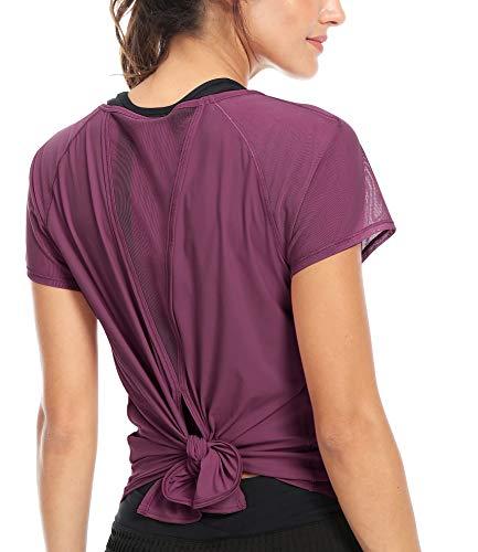 QUEENIEKE レディース スポーツ tシャツ 半袖 速乾 ヨガウエア ランニング トレーニング 8054 (S, ローズレッド)