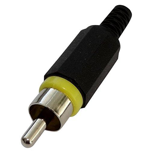 Aerzetix: 5 X Stecker Anschluss RCA männlich schwarz/gelb zu Löten C19551