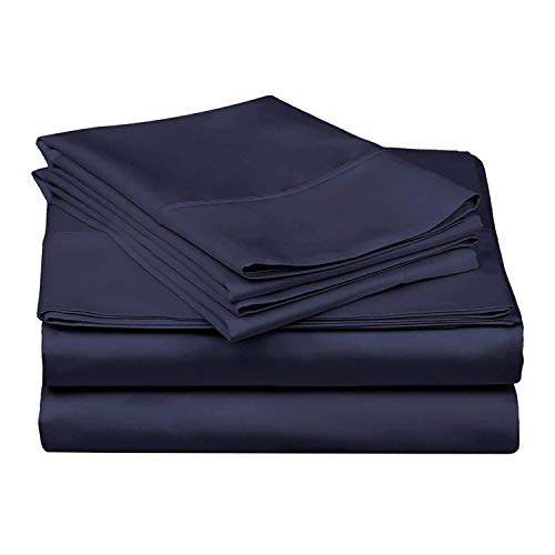Best-Bedding Olympic Queen Sheets 66 x 80 Inches 4 PCs RV Sheet Set Navy Blue Solid 15 Inches Deep for RV Mattress Ultra Soft Natural 100% Cotton 600-Thread-Count Stronger Durable RV Sheet Set