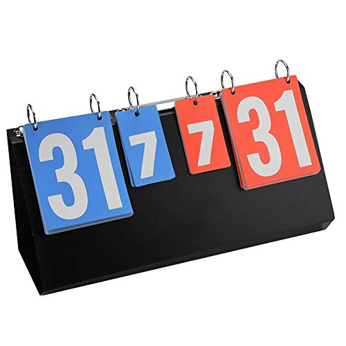 OKBY Marcador Deportivo - Marcador portátil Plegable de 4 dígitos para competición Deportiva Marcador Manual para Tenis de Mesa, Baloncesto, bádminton, béisbol, fútbol, Voleibol (Azul y Rojo)
