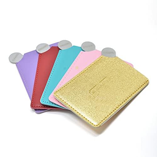 TOSISZ 1 PC Portable Mini Miroir de Maquillage incassable incassable Carte Style de Poche Miroir cosmétique en Cuir PU en Acier Inoxydable Carte-Gris