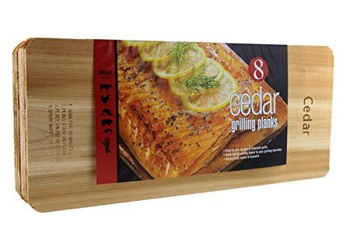 "Coastal Cuisine Cedar Grilling Planks – Designed for Moist & Flavorful Fish, Meat, and Veggies 7×16"" Set of 8"