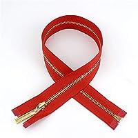 Zxxin-ジッパー 2/5ピース40-70cmオープンエンド3#メタルジッパー、DIYバッパーミシンアクセサリージッパー、カラフルゴールドジップ、 アクセサリークラフト (Color : Red, Length : 40cmX2pcs)