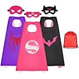 Sixome Girls Dress Up Superhero Capes and Mask and Slap Bracelets Toy Costumes for Birthday Party Halloween Gifts, Childrens Outfits for 3 4 5 6 7 8 + Year Old Girls (3 Pcs-Capes)