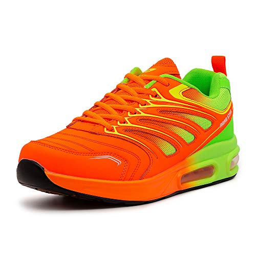 LEKANN 333 Herren Sportschuhe Laufschuhe Sneaker Dämpfung, Orange/Grün Gr. 43 EU