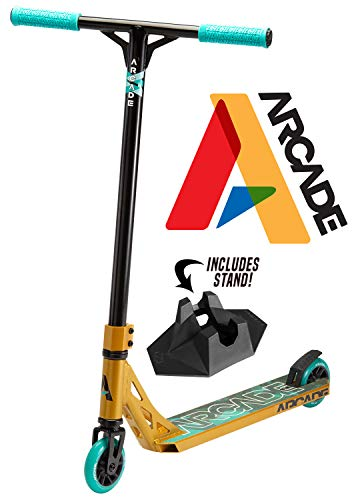 Arcade Pro Scooters  Stunt Scooter for Kids 8 Years and Up  Perfect for Beginners Boys and Girls  Best Trick Scooter for BMX Freestyle Tricks Gold/Teal