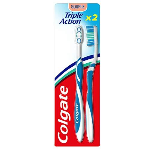 COLGATE - Brosse à Dents Triple Action Souple - Favorise une Bonne Santé Bucco-Dentaire - Atteint les Zones Difficiles d'Accès, Enlève les Taches, Élimine les bactéries Colorie aléatoire
