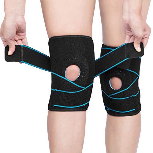 AVIDDA Kniebandage,2 Stück Open Gel Patella Kompression Knieschoner,rutschfeste Einstellbar Atmungsaktiv Unisex Knieorthese,Für Basketball und mehr Sport (Blue)