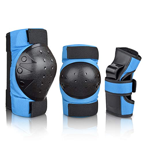 Deacroy Adult Child Knee Pads Wrist Guards Elbow Pads 6 in 1 Protective Gear Set for Volleyball Inline Roller Skating Skateboarding Cycling Scooter Ski