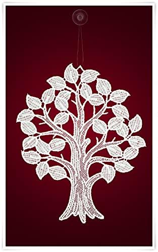 Plauener Spitze Fensterbild Baum mit Blättern (Bx H) 20cm * 25cm