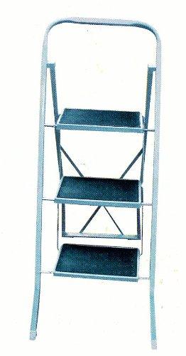 MSV 130004 - Escalera con Tres peldaños Antideslizantes, de Acero y Pintura, 46 x 71 x 104 cm, Color: Blanco/Gris: Amazon.es: Hogar