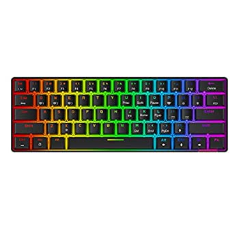 Havit Wireless 60% Mechanical Keyboard 61 Keys Rainbow Backlit Gaming Keyboard Bluetooth 5.0/Type-C Wired Programmable Computer Keyboard with Red Switch for Multi-Devices PC Mac Laptop  Black