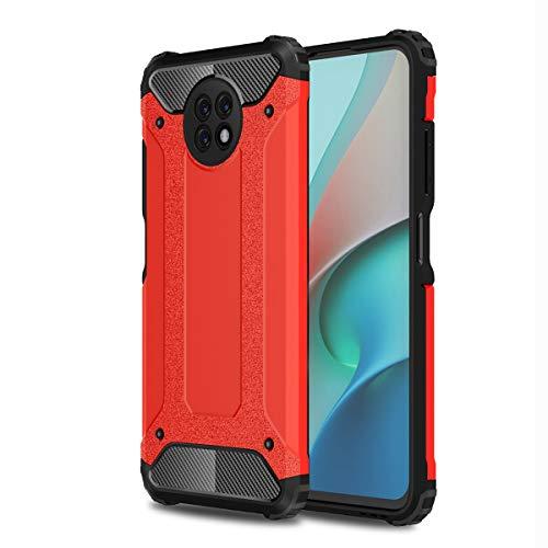 ZDCASE Redmi Note 9 5G Funda, Antideslizante TPU Suave & Resistente a Rayones PC Duro A Prueba de choques Protectora Funda para Xiaomi Redmi Note 9 5G - Rojo