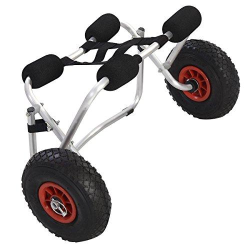 Chariot de Kayak Charge Maximale de 100kg Capacité de Chargement Pliable pour Bateaux Canoë ou Kayak Supports en Mousse Rembourrée 75 x 41 x 43 cm
