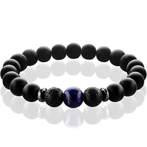 FABACH Spirituals™ Chakra Perlenarmband mit 8mm Lapis Lazuli-Perle, Lavastein und Onyx-Naturstein (schwarz) - Yoga Armband aus 21 Heilsteinen - Energiearmband für Damen und Herren