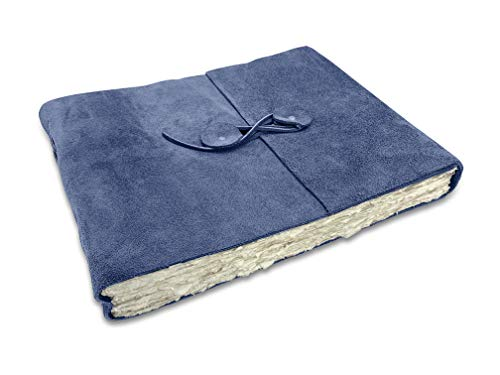 Wanderings Blue Suede Leather Watercolor Journal - with Handmade Deckle Edge Paper for Scrapbooks, Watercolor, Albums. Cold Press Paper - 10x12.5' - 350 GSM