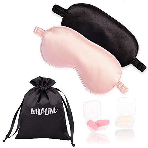 Whaline Schlafmaske Seide Augenmaske, Angenehme Schlafmaske MIT Ohrstöpsel und Aufbewahrungstasche für Frauen und Herren, Reisen, im Flug, zu Hause( Rosa und Schwarz)