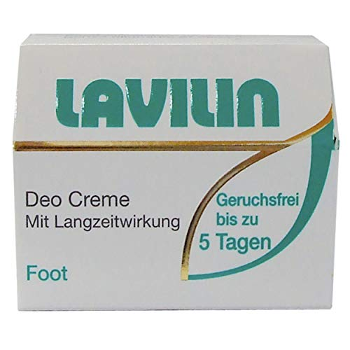 Lavilin Deo Foot Creme 10ml, gegen stinkende Füsse, verhindert bakterielle Zersetzung des Schweisses und stoppt Fussgeruch bis zu 5 Tage, pflanzlich, ohne Aluminium und Alkohol, besonders ergiebig