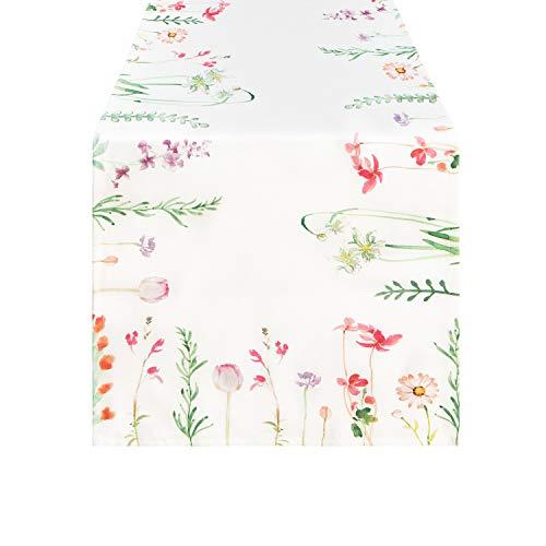 Smurfs Yingda Tischläufer Druck-Motiv mit Blumenmuster Vintage Frühling Schmetterlinge Tischdecke Tischband Polyester abwaschbar weiß 35x180cm